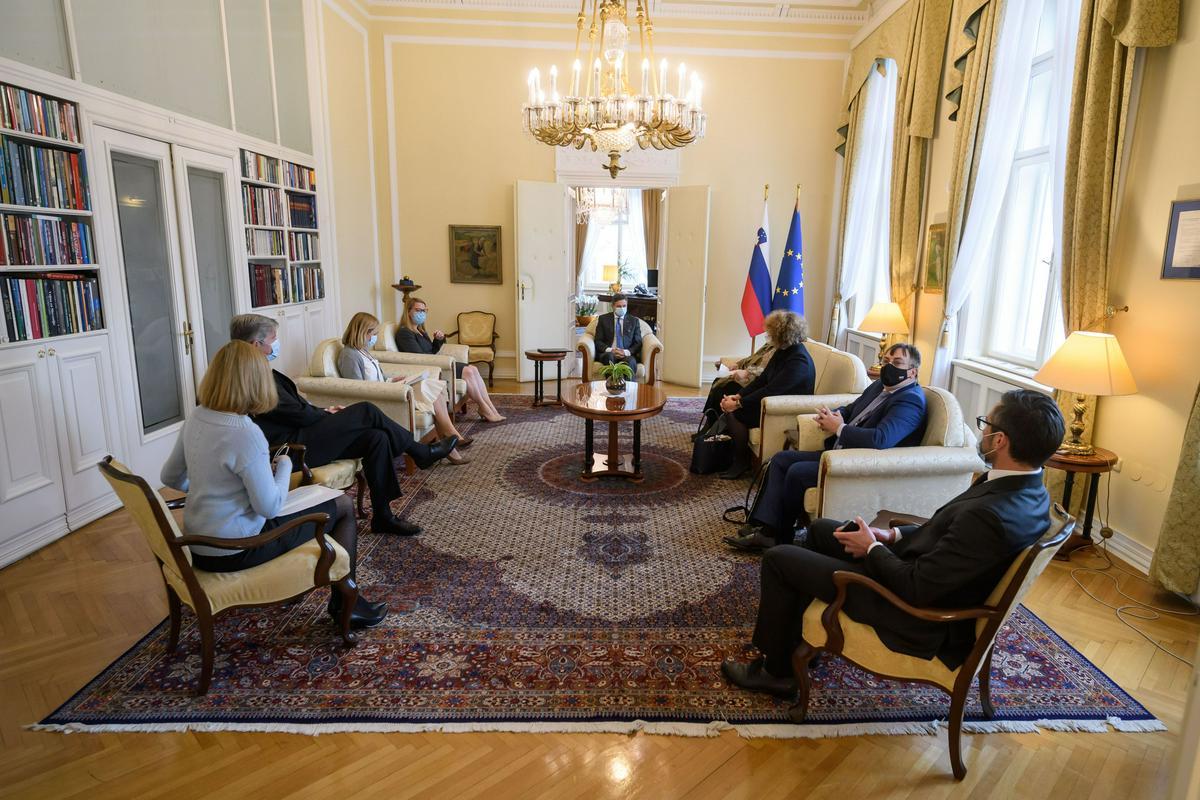 VertreterInnen der Slowenischen Minderheit in Italien treffen den Slowenischen Präsidenten Pahor